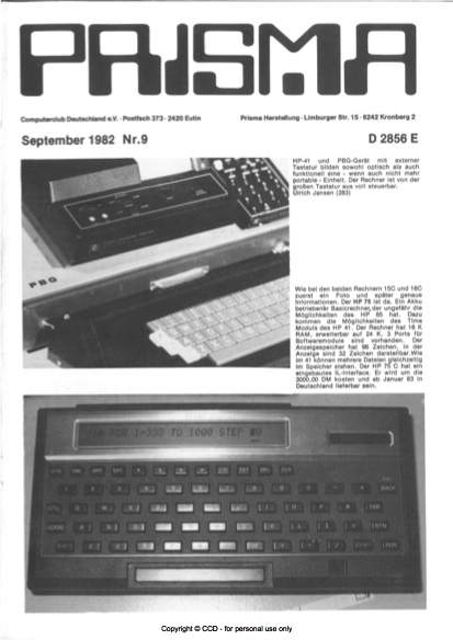 Prisma Zeitschrift Heft 9 - September
