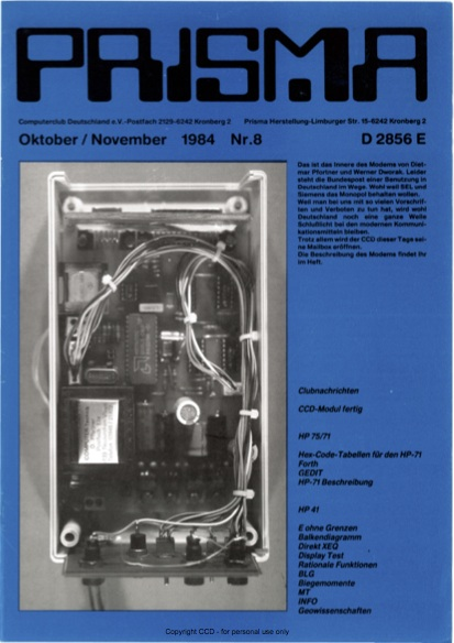 Prisma Zeitschrift Heft 8 - Oktober/November