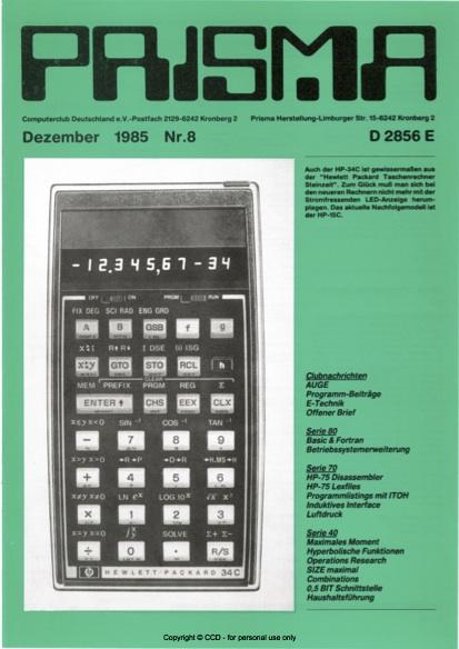 Prisma Zeitschrift Heft 8 - Dezember