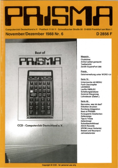 Prisma Zeitschrift Heft 6 - November/Dezember